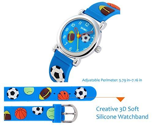 GRyiyi Kid's Outdoor Carton Waterproof Wrist Watch Time Teacher for Children 3D Rubber Band, Deep Blue by GRyiyi (Image #3)