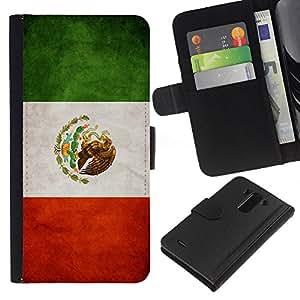 BearCase / Cuero de la tarjeta la carpeta del tirón Smartphone Slots Protección Holder /// LG G3 /// Nacional bandera de la nación País México