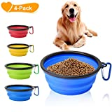 "Collapsible Dog Bowl, Basa 4 Pack Food Water Travel Bowl Food Grade Silicone BPA Free, Extra Large 34oz, 7"" Diameter Foldable Expandable Cup Dish for Pet Cat Feeding Bowl for Hiking, or Camping"