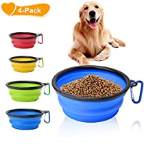 Collapsible Dog Bowl, Basa 4 Pack Food Water Travel Bowl Food Grade Silicone BPA Free, Extra Large 34oz, 7 Diameter Foldable Expandable Cup Dish for Pet Cat Feeding Bowl for Hiking, or Camping