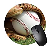 Round Mouse Pad with Baseball Design Non-Slip Rubber Mouse Pad Mouse Mat for Gaming and Working (7.87in x 7.87in)