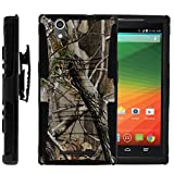 ZTE ZMax Case, ZTE ZMax Holster, Two Layer Hybrid Armor Hard Cover with Built in Kickstand and Belt Clip for ZTE ZMax Z970 (T Mobile, MetroPCS) from MINITURTLE   Includes Screen Protector - Nature's Camouflage