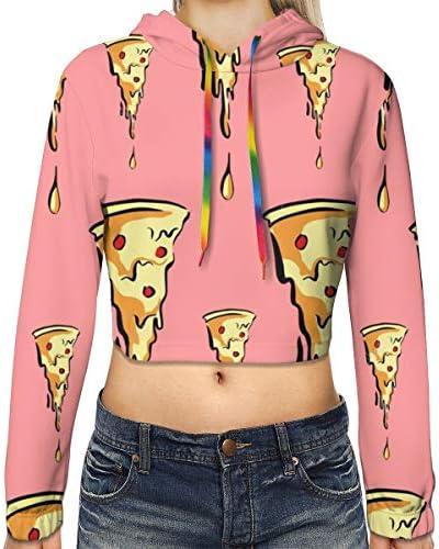 おいしいピザ柄の女性のカジュアルな長袖カラーブロックプルオーバースウェットシャツクロップトップスポーツジムオフィススクール