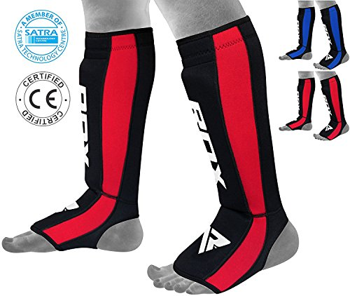 Neoprene Shin Guards - RDX Neoperene MMA Shin Instep Pads Leg Guard Muay Thai Boxing Training Protective Gear Kickboxing (CE Certified by SATRA)