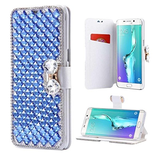 Galaxy S7 Edge Wallet Case,Inspirationc® and Made Luxury 3D Bling Crystal Rhinestone Leather Purse Flip Card Pouch Stand Cover Case for Samsung Galaxy S7 Edge--Blue
