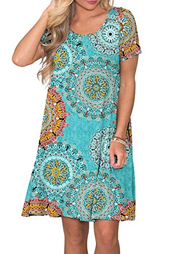 Womens Floral Printed Pocket Loose Bohemian Swing Flowy Short Sleeve Casual T Shirt Dress Blue XL