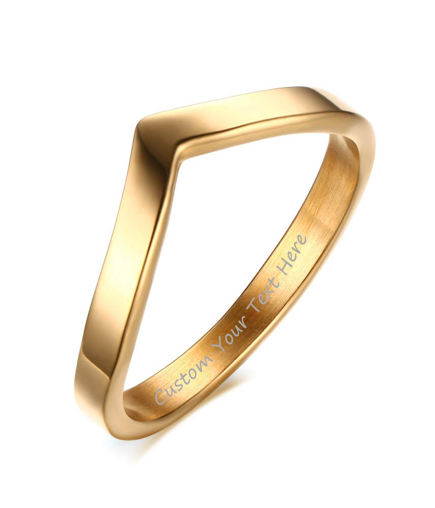 VNOX Fashion Customize 18K Gold Plated Stainless Steel Engagement Wedding Promise Chevron Ring,Size 9