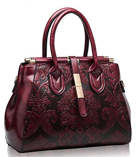 Bolsos de señora Xinmaoyuan Cowhide Bolso Bolso Bolso Retro viento Rojo