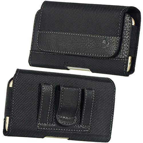 Cellphone Large Leather Carrying Case Pouch Holster Fit Motorola Moto G7 Power, E5 Plus, G6 Plus, ZTE Blade Max View, N3, V18, BlackBerry Evolve, Evolve X, Alcatel 7, 3V (Soft Motorola Leather Case Carry)