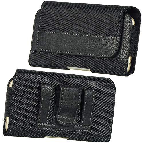 Cellphone Large Leather Carrying Case Pouch Holster Fit Motorola Moto G7 Power, E5 Plus, G6 Plus, ZTE Blade Max View, N3, V18, BlackBerry Evolve, Evolve X, Alcatel 7, 3V