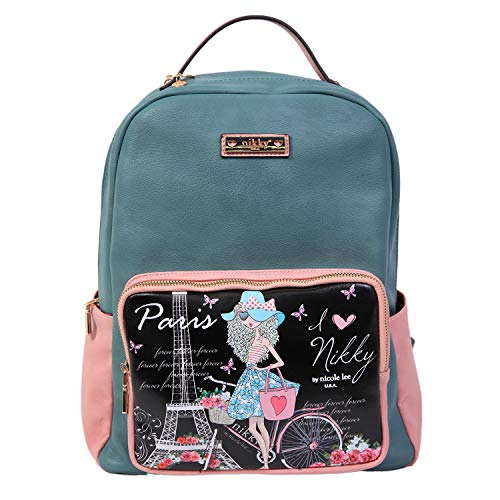 Backpack Nicole (Nikky Casual Women Girl's Fashion Blue Backpack, Travel Lightweight Visits Paris, One Size)