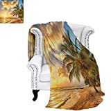 BeachFlannel Single Student blanketTropic Sandy Beach with Horizon at The Sunset and Coconut