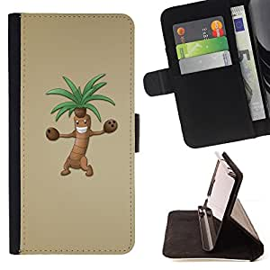 For LG OPTIMUS L90 Palm Tree Cartoon Character Animation Drawing Style PU Leather Case Wallet Flip Stand Flap Closure Cover
