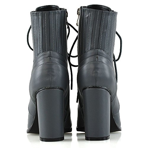 Chunky Ankle Leather Lace Zipper Grey Elasticated ESSEX Boots Womens Synthetic Ankle GLAM Booties Up Heel vYnFEg