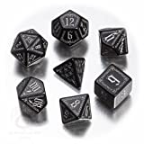 Q-Workshop Polyhedral 7-Die Set: Pathfinder Carrion Crown Dice Set (7) Black & Silver