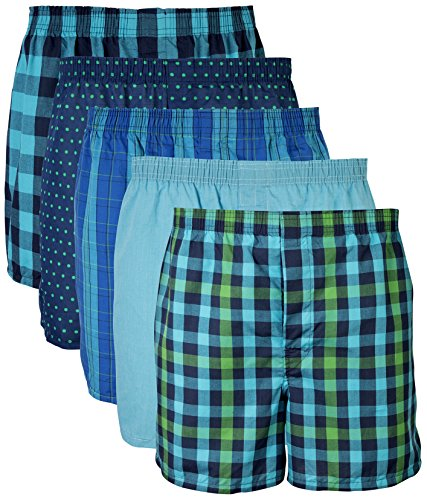 Gildan Men's Woven Boxer Underwear Multipack, Mixed Navy, (Loose Pack)