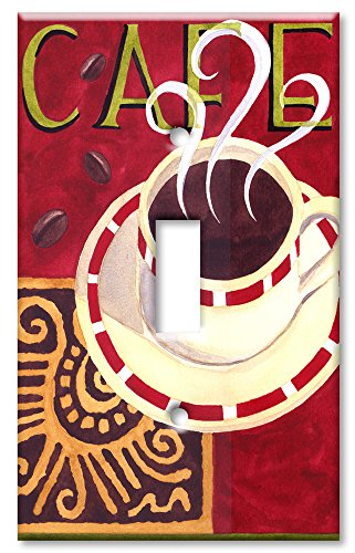 Art Plates - Single Gang Toggle OVERSIZE Switch Plate/OVER SIZE Wall Plate - Coffee Cafe