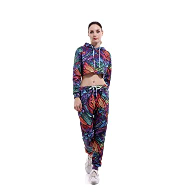 3133abb22d8 Women's 2 pcs Leaves Crop Tops Long Sleeve Active Casual Hoodie and Sweatpant  Tracksuit Set(