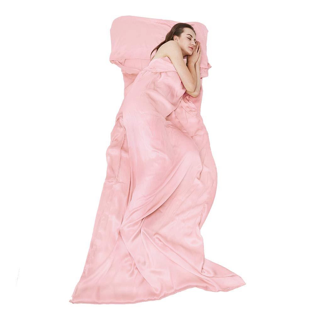 THXSILK Naturally 100% Mulberry Silk Travel Sheet Camping Sheet Sleeping Bag Liner - Soft & Lightweight Sleep Bag Outdoor Picnic, Hotel, Adventurous Travelers, Pink, 41'' x 86'' by THXSILK