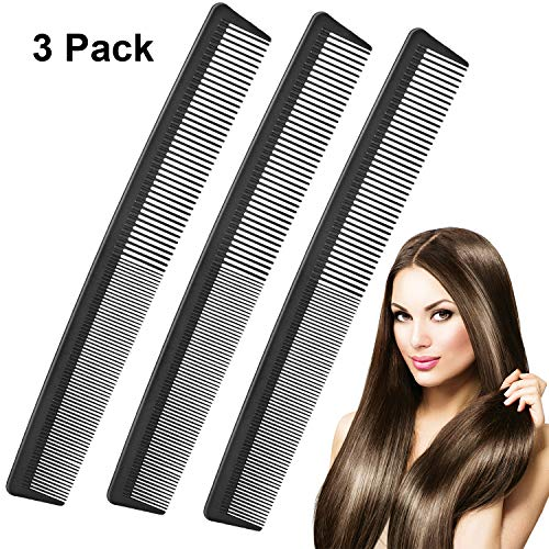 3 Pack Black Carbon Barber Comb,Hairdressing StylingCombs,Heat Resistant Combs,Fine Tooth Hair Comb Styling Combs for Salon (Style G) (Fine Teeth Comb)