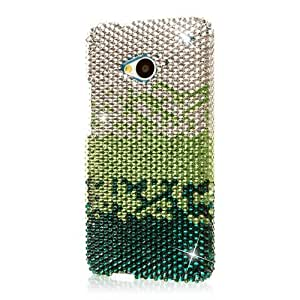 Gold Black Stripe Bling Gem Jeweled Crystal Cover Case for HTC One M7 L52S
