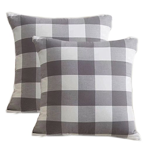 Pack of 2,Buffalo Checker Plaids Cotton Soft and Comfortable Throw Pillow Cover Cushion Case for Sofa Bedding Room 18inches Both Sides (Gray)