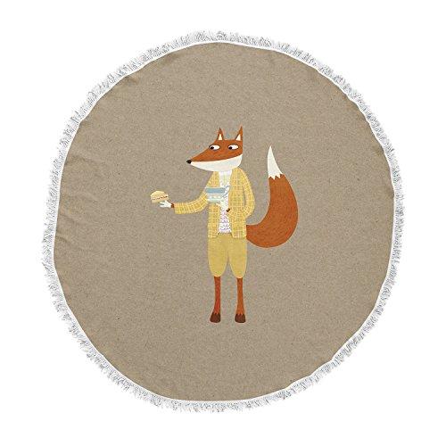 KESS InHouse Nic Squirrell Mr Fox Takes Tea Tan Animals Round Beach Towel Blanket by Kess InHouse