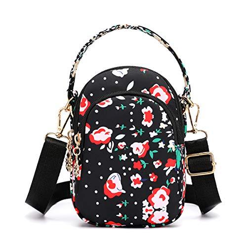 Women Small Crossbody Bags Mini Travel Bags Fashion Handbag Cellphone Wallet Purse Shoulder Pouch 3 Zip Pockets Floarl Sports Bag Small Rose ()