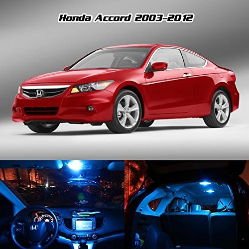 Partsam 2003-2012 Honda Accord Sedan & Coupe Ice Blue Interior Lights LED Package Deal(8 Pieces) + Gift Tool