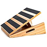 Professional Wooden Slant Board, Adjustable Incline Board and Calf Stretcher, Stretch Board - Extra Side-Handle Design for Portability - 16' X 12.5', 5 Positions (450 LB Capacity) (Partial-Coverage)