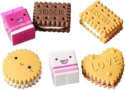 Gomas de borrar de goma, 6 unidades, en caja, bonitas galletas de ...