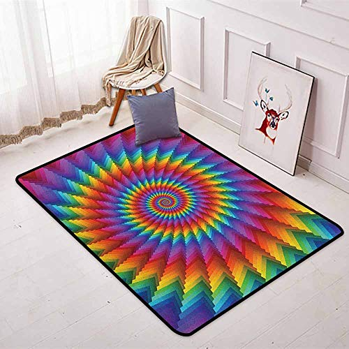 (Trippy Non-Slip Absorbent Carpet Psychedelic Rainbow Spiral in Vibrant Colors Circular Rainbow of Optical Illusion for Floor Carpets W47.2 x L59 Inch Multicolor)