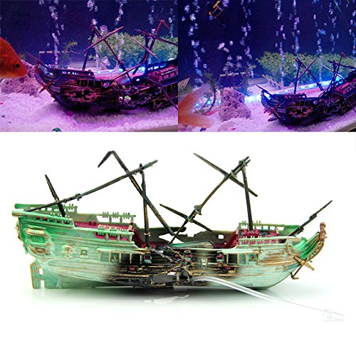 (Techinal 1pcs Aquarium Ornament Wreck Boat Sunk Ship Air Split Shipwreck Fish Tank Cave Decor)