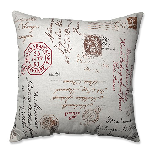 Pillow Perfect Linen/Red French Postale 24.5-Inch Floor Pillow