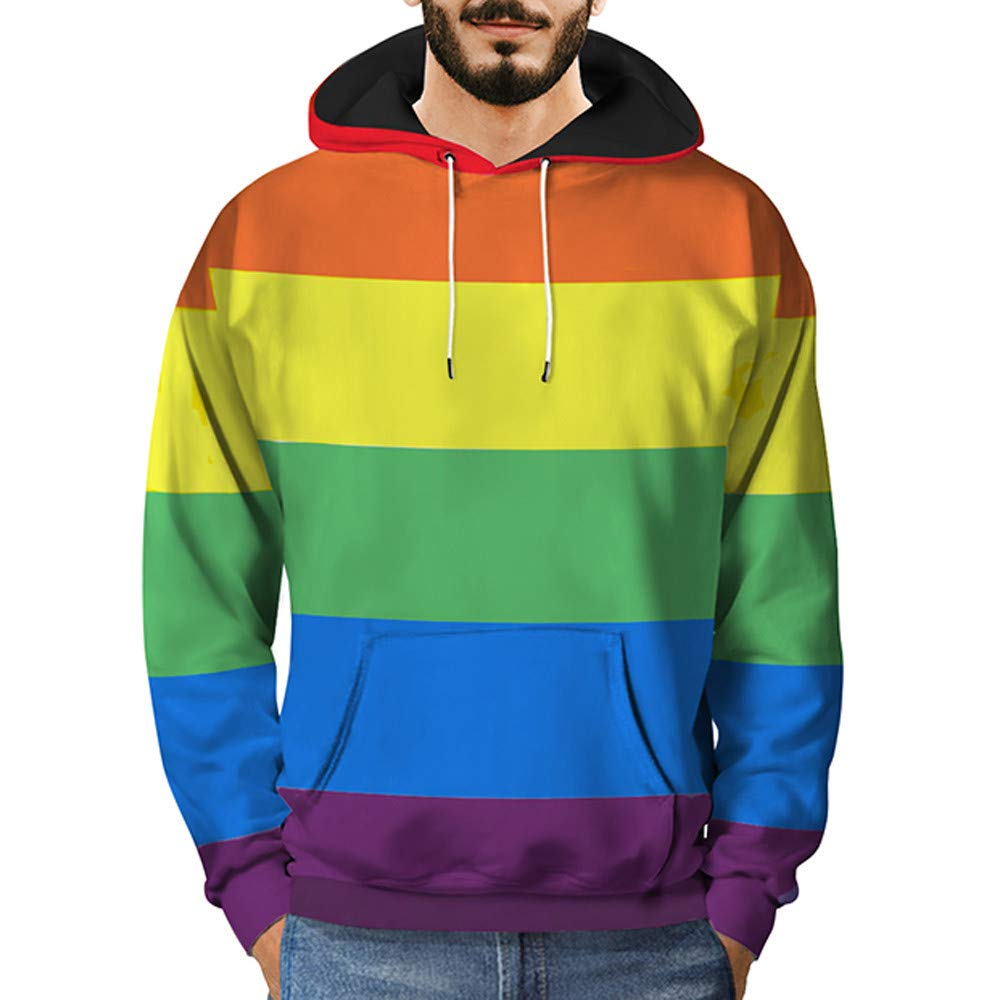 SMALLE ◕‿◕ Clearance,Mens 3D Printed Rainbow Pullover Long Sleeve Hooded Sweatshirt Tops Blouse