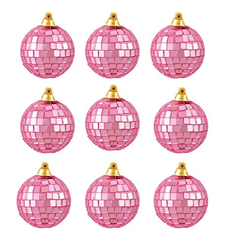 Northlight 9 Count Bubblegum Pink Mirrored Glass Disco Ball Christmas Ornaments, - Glasses Disco Ball