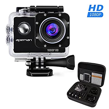 APEMAN Action Camera FHD 1080P WiFi Waterproof Sport Camera 2.0 Inch LCD Display, 170 Ultra Wide Angle Lens - 2 Pcs Rechargeable 1050mAh Batteries and Portable Package Include Full Accesspries Kits