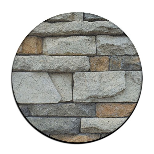 ZHYPMNU Abstract Architecture Stone Non-Slip Door Mat Soft Memory Foam Pads (23.6 Inch) Bedroom Mat Round Area ()