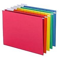 Carpeta de archivos colgada de Smead con lengüeta, lengüeta ajustable de 1/5 corte, tamaño carta, colores primarios surtidos, 25 por caja (64059)