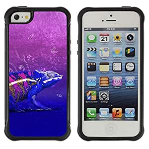 Hybrid Anti-Shock Defend Case for Apple iPhone 5 5S / Cool Neon Chameleon Art
