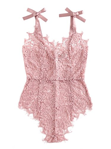 DIDK Women's Ribbon Tie Shoulder See Though Floral Lace Bodysuit Pink L