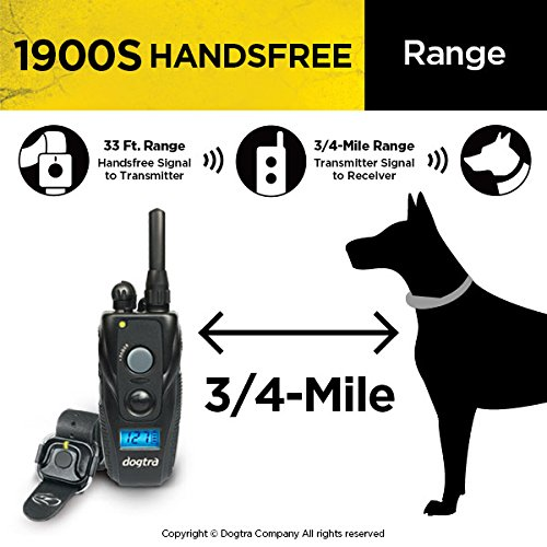 Dogtra 1900S HANDSFREE Remote Training Collar - 3/4 Mile Range, Waterproof, Rechargeable, Shock, Vibration, Hands Free Remote Controller - Includes PetsTEK Dog Training Clicker by Dogtra (Image #4)