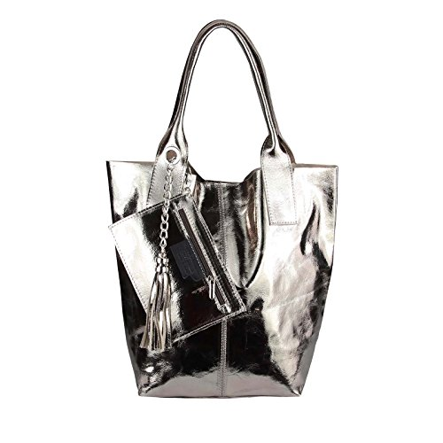OBC Only-Beautiful-Couture - Bolso al hombro para mujer Lila 42x35x16 ca.: 42x35x16 cm (BxHxT) Bronze-Leder 42x35x16
