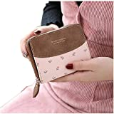 Womens RFID Blocking PU Leather Short Wallet Large Capacity Card Holder Coin Pouch Ladies Girls Purse (#2 Floral Pink)