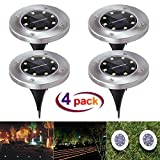 Solar Ground Lights with Light Sensor Waterproof Landscape Lawn Pathway Lights for Garden Driveway Walkway Yard Garage Patio Garden Pathway Outdoor in-Ground Lights with 8 LED,Pack of 4