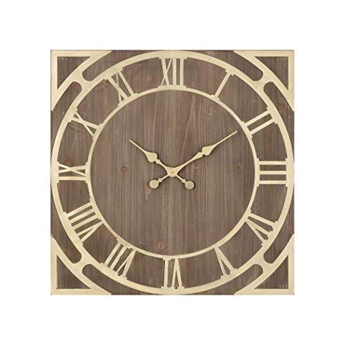(Elk Robber Baron Wall Clock, Gold, Brown)