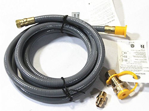 Hongso HRTA1-3 Natural Gas Quick Connect Hose with Quick Connect Fitting for outdoor grill propane tanks, 10 Feet