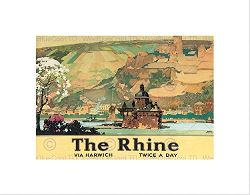 TRAVEL RIVER CASTLE LANDSCAPE RHINES BLACK FRAMED ART PRINT PICTURE B12X7882 (Framed River Rhine)