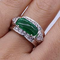 Siam panva Unique Green Jade Crystal Ring 18K White Gold Plated Zircon Ring Size 6/7/8/9 (8)