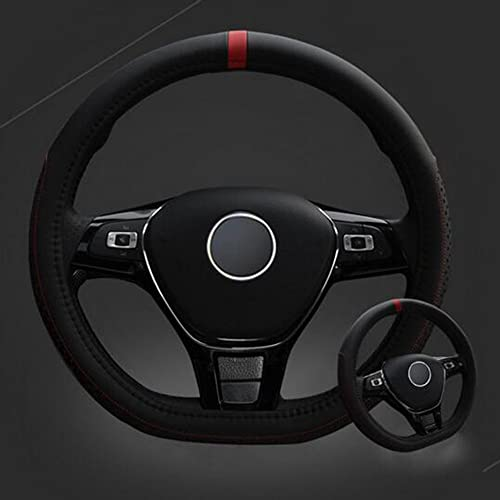 INEBIZ D Type Fashionable Microfiber Leather Steering Wheel Cover Sporty Style